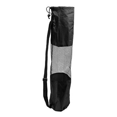 Portable Lightweight Exercise Yoga Mat Bag Carrier Mesh Center Pilates, Black LW