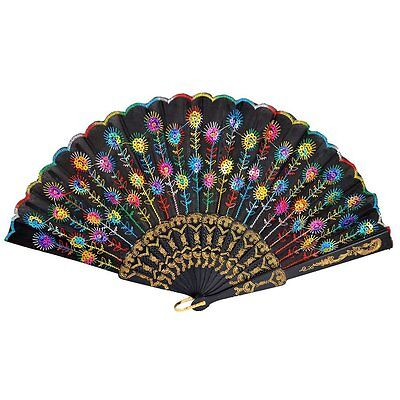 Colored Embroidered Flower Pattern Black Cloth Folding Hand Fan for Woman LW