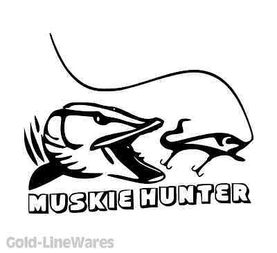 muskie hunter sticker pike fishing lead bait baitcaster spinner crankbait decal