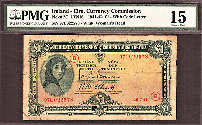 Ireland One Pound Dated 28.7.41 With War Code ( B ) Pick-2C Rare