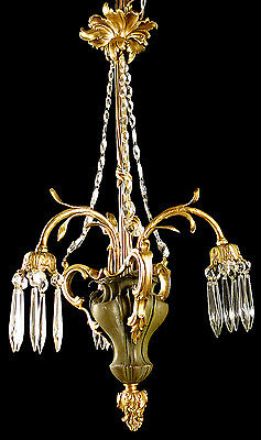 Antique French solid bronze & crystal chandelier Original patina *s