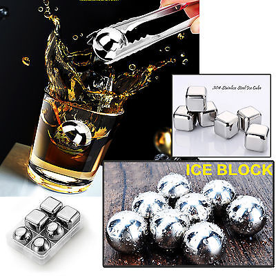 New 6x Stainless Steel Whiskey Stone Ice Cubes Soapstone Glacier Chillers Drink