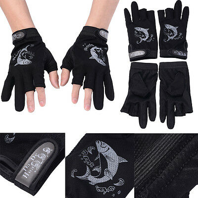1 Pair Thinsulate Lined Fingerless Thermal Gloves Black Thermal Fishing Outdoor