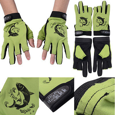 1 Pair Thinsulate Lined Fingerless Thermal Gloves Green Thermal Fishing Outdoor