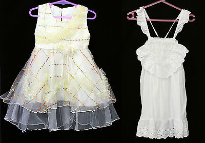 Bulk Lot 2 Girls Size Sz 2 Vintage Dresses White Yellow Retro Dress Clothes 90s