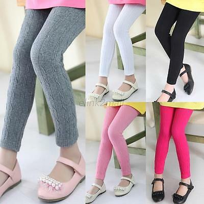 2-12Y Kids Girls Solid Color Cotton Pants Stretch Warm Leggings Trousers Hot