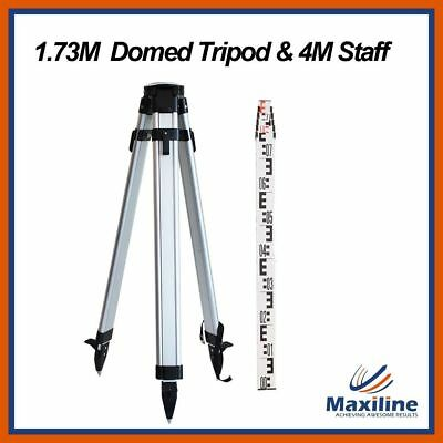 Domed Head Aluminum Tripod & 4 Meters Staff for Rotary Laser levels Dumpy Levels