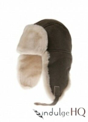 New Ozwear UGG Aviator Hat In Nappa Leather Brown Size L XL