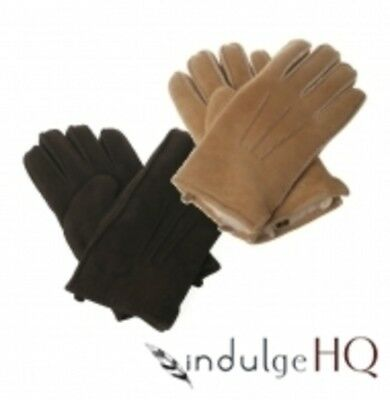 New Ozwear UGG Premium Sheepskin Mens Gloves In Chocolate Chestnut S M L XL