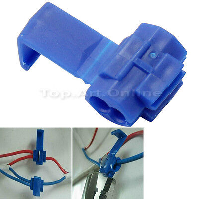 100X Electrical Terminals Crimp Scotch Locks Quick Splice Wire Connector Blue