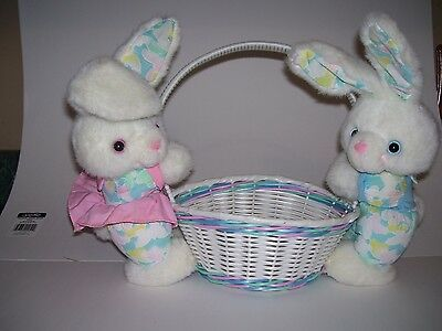 Easter Basket With Plush Bunny Rabbits Pink Blue Green Cute !!