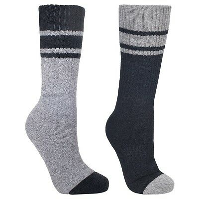 Trespass Hitched Mens 2 Pack Anti-Blister Hiking Walking Socks - Black/Grey 7/11