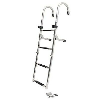 Stainless Steel Dive N Dog  44 3/4 Inch 4 Step Folding Top Mount Boat Ladder