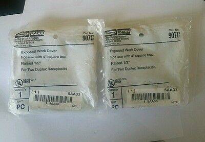 """New Lot Of 2 Hubbell Raco 5Aa33 Exposed Work Cover Use With 4"""" Square Box"""