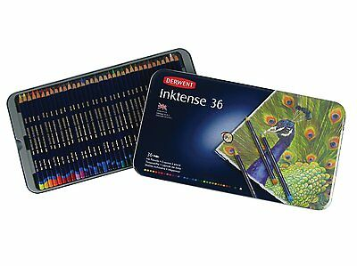 Derwent Inktense 36 Tin Set of Assorted Artists Colour Water-Soluble Ink Pencils