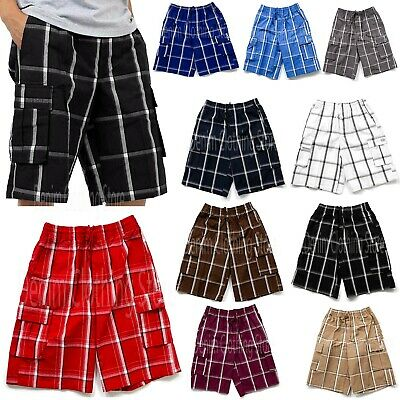 Shaka Wear Men's Checker Plaid Shorts Loose Fitting Short Pants Size S~5XL New
