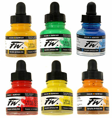 Daler Rowney FW Artists Acrylic Ink 29.5 ml Bottle - Full Colour Range Available