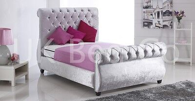 Swan Crushed Velvet Bed-3Ft,4Ft,5Ft,6Ft-Available Available In All Colors