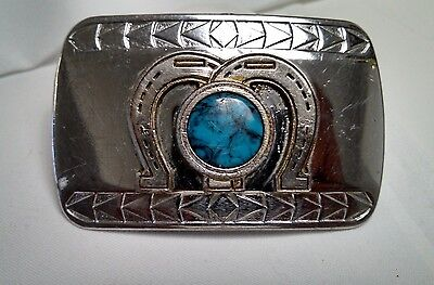 Vintage Chrome Plated Metal Belt Buckle Brass Horse Shoes Faux Turquoise Center