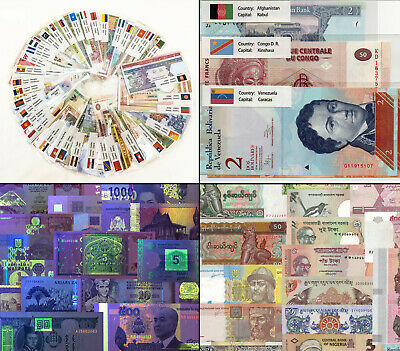 100 PCS 35 Countries Different Banknotes Currency World Flag Label Genuine UNC