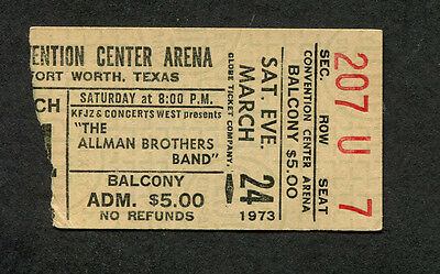1973 Allman Brothers Band concert ticket stub Fort Worth TX Brothers and Sisters