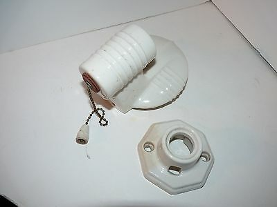 Vtg Porcelier Porcelain Light Fixtures 1 Chain Pull White Steampunk