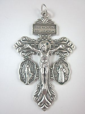 "3-Way Pardon Crucifix with attached St Benedict & Miraculous Medals 2 1/4"" Italy"