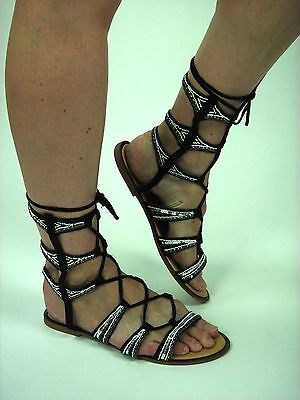 dbb14ff4fda ankle mid calf lace up flat gladiator roman sandal shoe embellish beaded  tribal
