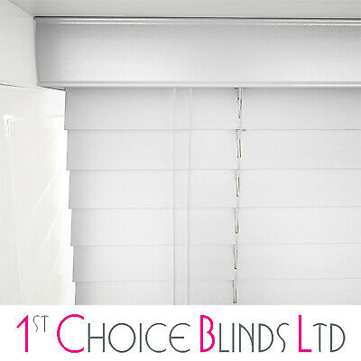Made To Measure Wooden Venetian Window Blind  Pure White Real Wood 50Mm Slats