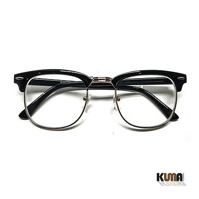 046a50d201 Clubmaster Style Half Frame Retro Clear Lens Fashion Glasses Black Gold