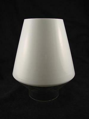 Vintage Conical White Milk Glass And Clear Glass Oil Lamp Shade, 6.7Cm Fitter