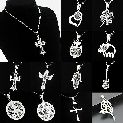 Men Unisex Pendant Necklace Crystal Stainless Steel Choker Leather Cord Jewelry