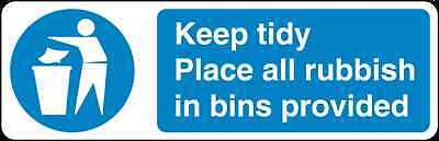 Health and Safety Mandatory Blue Sticker Keep Tidy Place all Rubbish Sticker