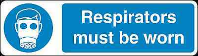 Health and Safety Mandatory Blue Sticker Respirators must be worn sticker