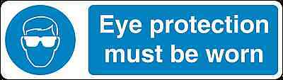 Health and Safety Mandatory Blue Sticker Eye Protection must be worn sticker