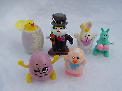 6 Older Wind Up Type Easter Holiday Related Toys Eggs Rabbits Chicks