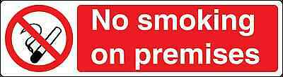 Health and Safety Prohibition Red Sticker No Smoking on Premises Sticker
