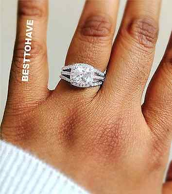 925 Silver Ladies 3 pieces Wedding Engagement Cushion Cut Halo Bridal Ring Set