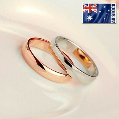 18K White / Rose Gold Filled Classic Plain Band Wedding Engagement Ring Stunning
