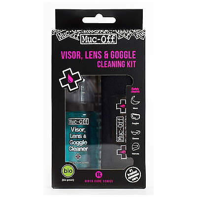 Muc-Off Kit Limpiador antibacteriano lentes y cascos Spray 35ml + paño + bolsa
