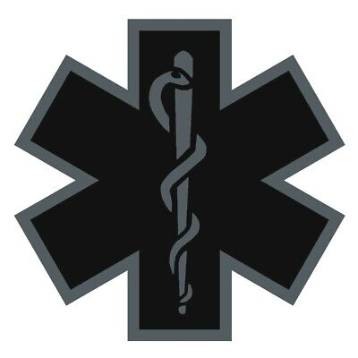 Black Subdued Reflective Star Of Life Fire Helmet Decal EMS EMT 4 inch