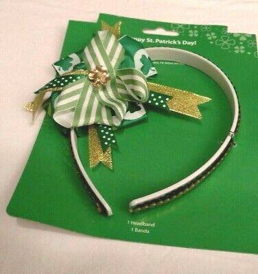 Headband Green Sequins Lace Gold Clover Hair Accessory Happy St Patricks Day NIP