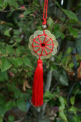 Lucky Chinese Coins Cure Good Fortune Luck Feng Shui Hanger Tied Circular
