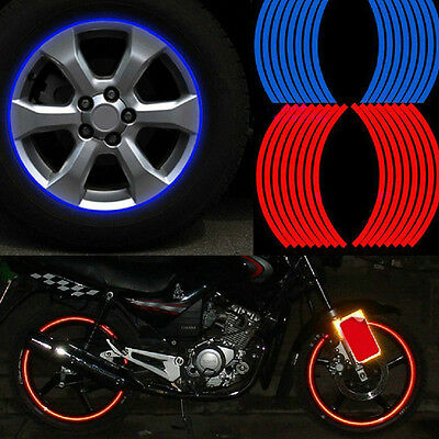 16 Strips Wheel Sticker Reflective Rim Stripe Tape Motorcycle Car Tape Craft DIY