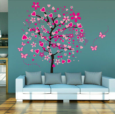 Peach Blossom Tree Butterfly Mobile Sitting Room Bedroom Setting Wall Stickers