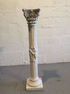 Signed Resin Pedestal Stand Column Marble Style Italy Heavy