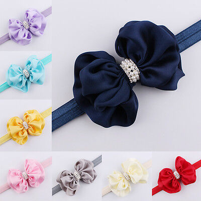 Baby Kids Girls Bow Rhinestone Headband Elastic Pearl Big Bow Knot Hair Band