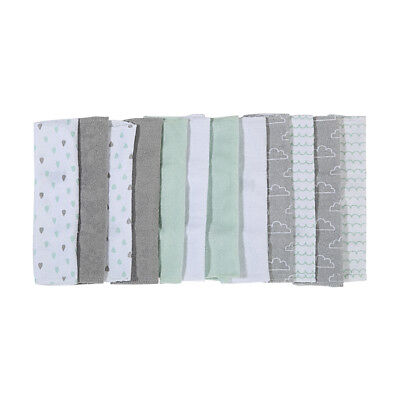 12 Pack Baby Shower Designer Face Washers Hand Towels Cotton Gift Collection
