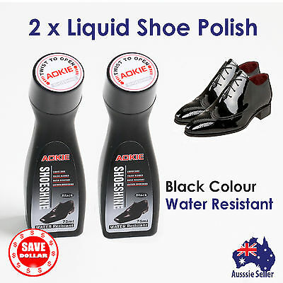 2x Liquid Shoe Polish Shoe Cleaner Black Shine Nourish Protect Wax Leather Care