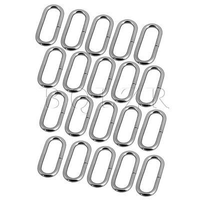 20 x Silver 2mm Dia Metal Iron Plating Oval Buckle Loop Ring for Purse Bag Strap